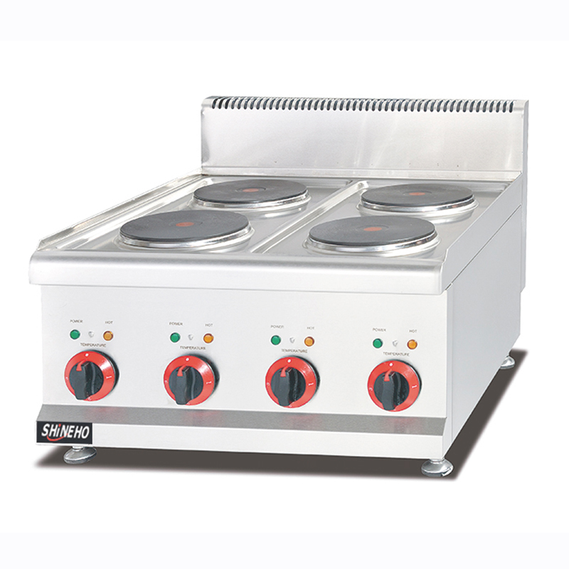 Counter top electric range with four burners