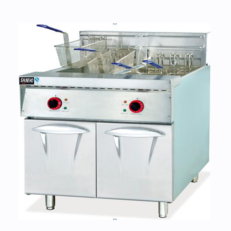 Vertical electric 2-tank &4-basket fryer